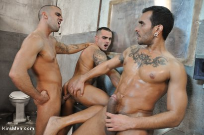 Photo number 5 from Nacho Vidal's Dark Tales From Europe - The Bathroom shot for KinkMen.com Test Shoots on Kink.com. Featuring Lucio Saints, Adrian Toledo and Damien Crosse in hardcore BDSM & Fetish porn.