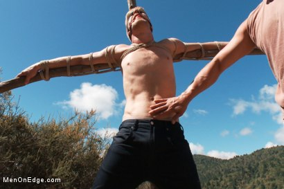 Photo number 3 from Captured and edged in the deep woods shot for Men On Edge on Kink.com. Featuring Logan Stevens in hardcore BDSM & Fetish porn.