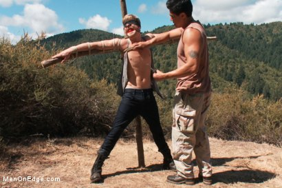 Photo number 2 from Captured and edged in the deep woods shot for Men On Edge on Kink.com. Featuring Logan Stevens in hardcore BDSM & Fetish porn.