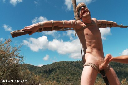 Photo number 4 from Captured and edged in the deep woods shot for Men On Edge on Kink.com. Featuring Logan Stevens in hardcore BDSM & Fetish porn.