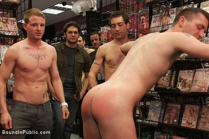 Photo number 2 from Horny pig publicly Humiliated, Double Penned & shoved in birthday Cake shot for Bound in Public on Kink.com. Featuring Travis Irons and Evan Mercy in hardcore BDSM & Fetish porn.