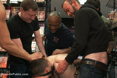 Photo number 6 from Horny pig publicly Humiliated, Double Penned & shoved in birthday Cake shot for Bound in Public on Kink.com. Featuring Travis Irons and Evan Mercy in hardcore BDSM & Fetish porn.