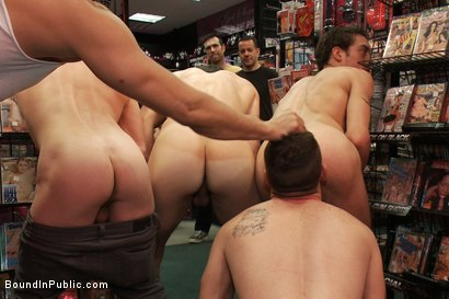 Photo number 3 from Horny pig publicly Humiliated, Double Penned & shoved in birthday Cake shot for Bound in Public on Kink.com. Featuring Travis Irons and Evan Mercy in hardcore BDSM & Fetish porn.