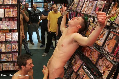 Photo number 1 from Horny pig publicly Humiliated, Double Penned & shoved in birthday Cake shot for Bound in Public on Kink.com. Featuring Travis Irons and Evan Mercy in hardcore BDSM & Fetish porn.