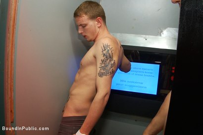 Photo number 9 from Horny pig publicly Humiliated, Double Penned & shoved in birthday Cake shot for Bound in Public on Kink.com. Featuring Travis Irons and Evan Mercy in hardcore BDSM & Fetish porn.