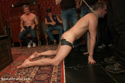 Photo number 1 from Sexy stud gets shocked, suspended, and gang fucked on the Upper Floor shot for Bound in Public on Kink.com. Featuring Brian Bonds and Josh West in hardcore BDSM & Fetish porn.