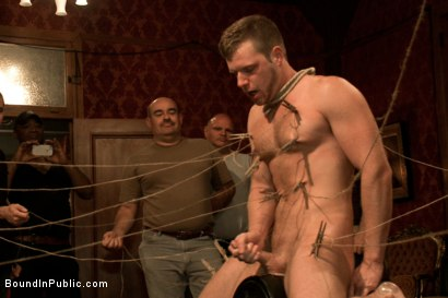 Photo number 11 from Sexy stud gets shocked, suspended, and gang fucked on the Upper Floor shot for Bound in Public on Kink.com. Featuring Brian Bonds and Josh West in hardcore BDSM & Fetish porn.