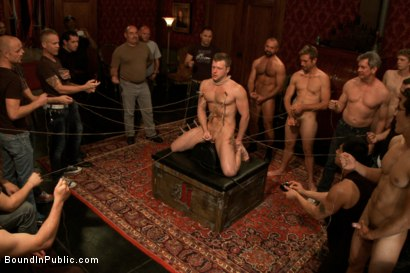 Photo number 10 from Sexy stud gets shocked, suspended, and gang fucked on the Upper Floor shot for Bound in Public on Kink.com. Featuring Brian Bonds and Josh West in hardcore BDSM & Fetish porn.