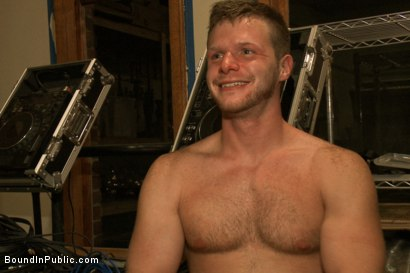 Photo number 15 from Sexy stud gets shocked, suspended, and gang fucked on the Upper Floor shot for Bound in Public on Kink.com. Featuring Brian Bonds and Josh West in hardcore BDSM & Fetish porn.
