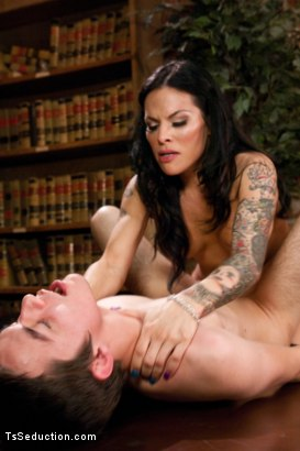 Photo number 12 from Coo Coo ca Choo Foxxy:Seducing a 19yr old in the Library with Her Cock shot for TS Seduction on Kink.com. Featuring TS Foxxy and Matthew in hardcore BDSM & Fetish porn.