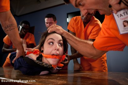 Photo number 2 from Prison Outreach Program - Starring Tegan Tate  shot for Bound Gang Bangs on Kink.com. Featuring Ramon Nomar, John Strong, Mr. Pete, Bobby Bends, Jon Jon and Tegan Tate in hardcore BDSM & Fetish porn.