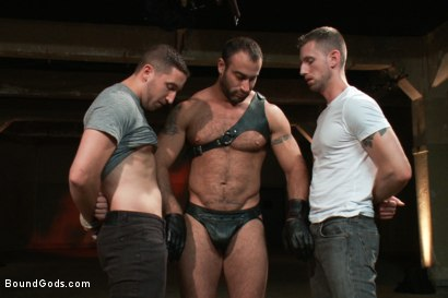 Photo number 1 from Broken - Live Shoot shot for Bound Gods on Kink.com. Featuring Spencer Reed, Tony Hunter, Troy Daniels and Van Darkholme in hardcore BDSM & Fetish porn.