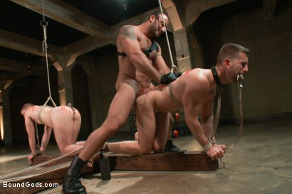 Photo number 9 from Broken - Live Shoot shot for Bound Gods on Kink.com. Featuring Spencer Reed, Tony Hunter, Troy Daniels and Van Darkholme in hardcore BDSM & Fetish porn.