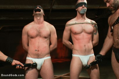 Photo number 2 from Broken - Live Shoot shot for Bound Gods on Kink.com. Featuring Spencer Reed, Tony Hunter, Troy Daniels and Van Darkholme in hardcore BDSM & Fetish porn.