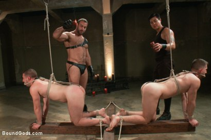 Photo number 7 from Broken - Live Shoot shot for Bound Gods on Kink.com. Featuring Spencer Reed, Tony Hunter, Troy Daniels and Van Darkholme in hardcore BDSM & Fetish porn.