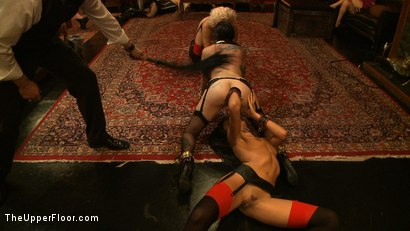 Photo number 15 from House Party: Debauchery  shot for The Upper Floor on Kink.com. Featuring Dylan Ryan, Lyla Storm, Derrick Pierce, Krysta Kaos and Maestro Stefanos in hardcore BDSM & Fetish porn.