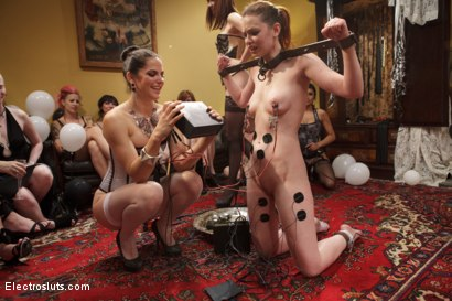Photo number 15 from HAPPY BIRTHDAY JUSTINE JOLI!!! shot for Electro Sluts on Kink.com. Featuring Justine Joli, Beretta James and Audrey Rose in hardcore BDSM & Fetish porn.