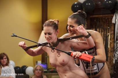 Photo number 3 from HAPPY BIRTHDAY JUSTINE JOLI!!! shot for Electro Sluts on Kink.com. Featuring Justine Joli, Beretta James and Audrey Rose in hardcore BDSM & Fetish porn.