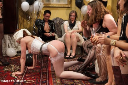 Photo number 3 from Justine Joli's Whipped Ass/Electrosluts LIVE and PUBLIC all girl birthday BDSM orgy!! shot for Whipped Ass on Kink.com. Featuring Justine Joli, Beretta James and Audrey Rose in hardcore BDSM & Fetish porn.