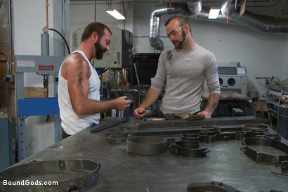 Photo number 1 from Motor oil bondage fuck in the metal shop shot for Bound Gods on Kink.com. Featuring Josh West and Clayton Kent in hardcore BDSM & Fetish porn.