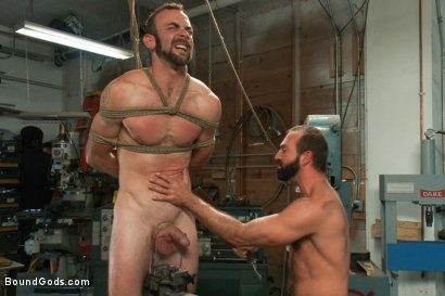 Photo number 7 from Motor oil bondage fuck in the metal shop shot for Bound Gods on Kink.com. Featuring Josh West and Clayton Kent in hardcore BDSM & Fetish porn.