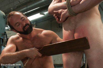 Photo number 9 from Motor oil bondage fuck in the metal shop shot for Bound Gods on Kink.com. Featuring Josh West and Clayton Kent in hardcore BDSM & Fetish porn.