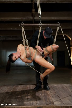 Photo number 15 from Mark Wood face fucks India Summers and adjusts her cocky attitude shot for Hogtied on Kink.com. Featuring Mark Wood and India Summer in hardcore BDSM & Fetish porn.