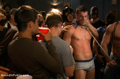 Photo number 7 from Captured stud is being used in a bar full of horny masked men shot for Bound in Public on Kink.com. Featuring Spencer Reed, Jake Steel and Cole Streets in hardcore BDSM & Fetish porn.