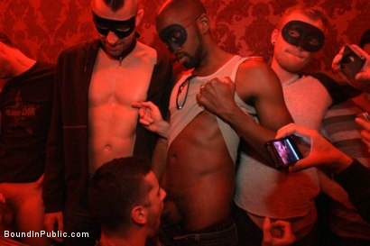 Photo number 5 from Captured stud is being used in a bar full of horny masked men shot for Bound in Public on Kink.com. Featuring Spencer Reed, Jake Steel and Cole Streets in hardcore BDSM & Fetish porn.
