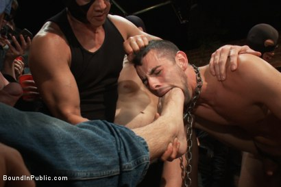 Photo number 8 from Captured stud is being used in a bar full of horny masked men shot for Bound in Public on Kink.com. Featuring Spencer Reed, Jake Steel and Cole Streets in hardcore BDSM & Fetish porn.