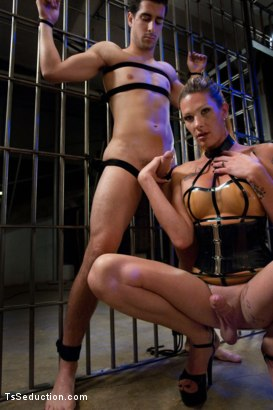 Photo number 1 from It's Raining Cum: Morgan Bailey Dominates Her Little Man shot for TS Seduction on Kink.com. Featuring Morgan Bailey and Tyler Alexander in hardcore BDSM & Fetish porn.