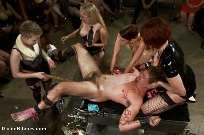Photo number 8 from LIVE & PUBLIC slave humiliation, degradation, prostate milking with horny sadistic women! shot for Divine Bitches on Kink.com. Featuring Maitresse Madeline Marlowe, Aiden Starr, Christian Wilde, Lorelei Lee, Jason Miller and John Jammen in hardcore BDSM & Fetish porn.