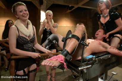 Photo number 6 from LIVE & PUBLIC slave humiliation, degradation, prostate milking with horny sadistic women! shot for Divine Bitches on Kink.com. Featuring Maitresse Madeline Marlowe, Aiden Starr, Christian Wilde, Lorelei Lee, Jason Miller and John Jammen in hardcore BDSM & Fetish porn.