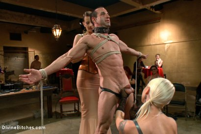 Photo number 1 from LIVE & PUBLIC slave humiliation, degradation, prostate milking with horny sadistic women! shot for Divine Bitches on Kink.com. Featuring Maitresse Madeline Marlowe, Aiden Starr, Christian Wilde, Lorelei Lee, Jason Miller and John Jammen in hardcore BDSM & Fetish porn.
