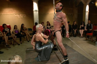 Photo number 2 from LIVE & PUBLIC slave humiliation, degradation, prostate milking with horny sadistic women! shot for Divine Bitches on Kink.com. Featuring Maitresse Madeline Marlowe, Aiden Starr, Christian Wilde, Lorelei Lee, Jason Miller and John Jammen in hardcore BDSM & Fetish porn.
