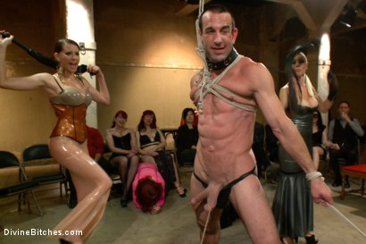 Photo number 14 from LIVE & PUBLIC slave humiliation, degradation, prostate milking with horny sadistic women! shot for Divine Bitches on Kink.com. Featuring Maitresse Madeline Marlowe , Aiden Starr, Christian Wilde, Lorelei Lee, Jason Miller and John Jammen in hardcore BDSM & Fetish porn.