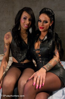 Photo number 1 from Biker Dungeon: Transsexual Hottie Honey Fucks Angelina Valentine shot for TS Pussy Hunters on Kink.com. Featuring Honey FoXXX and Angelina Valentine in hardcore BDSM & Fetish porn.