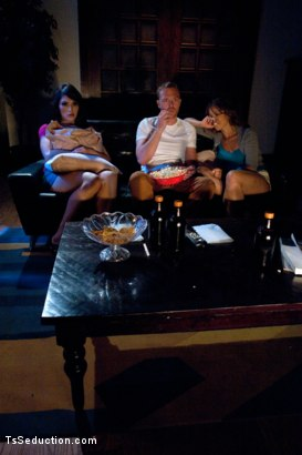 "Photo number 1 from ""Movie Night""Feature 3Some Starring Eva Lin&A Real Life Married Couple shot for TS Seduction on Kink.com. Featuring Eva Lin, Audrey Rose and Henry Jacob in hardcore BDSM & Fetish porn."