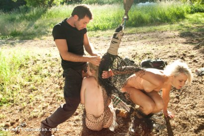 Photo number 5 from Captured in the Woods: A Featured Presentation: Two Beautiful Blondes Brutally Fucked in the Wild shot for Sex And Submission on Kink.com. Featuring James Deen, Penny Pax and Anikka Albrite in hardcore BDSM & Fetish porn.