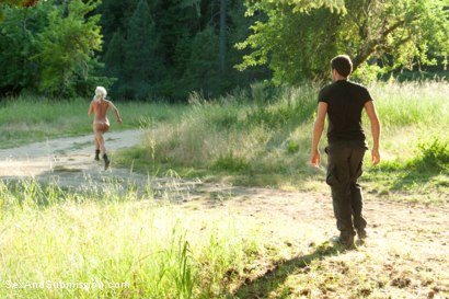 Photo number 6 from Captured in the Woods: A Featured Presentation: Two Beautiful Blondes Brutally Fucked in the Wild shot for Sex And Submission on Kink.com. Featuring James Deen, Penny Pax and Anikka Albrite in hardcore BDSM & Fetish porn.