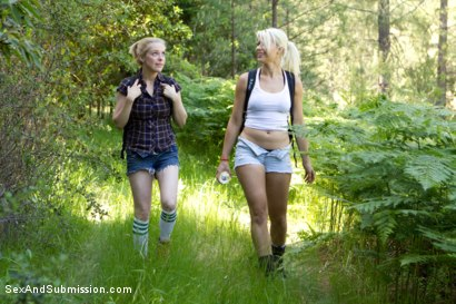 Photo number 1 from Captured in the Woods: A Featured Presentation: Two Beautiful Blondes Brutally Fucked in the Wild shot for Sex And Submission on Kink.com. Featuring James Deen, Penny Pax and Anikka Albrite in hardcore BDSM & Fetish porn.