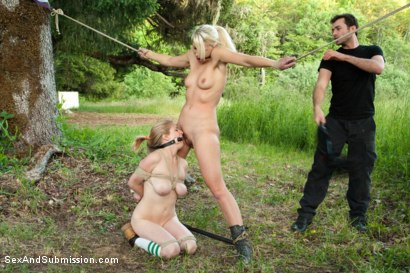 Photo number 7 from Captured in the Woods: A Featured Presentation: Two Beautiful Blondes Brutally Fucked in the Wild shot for Sex And Submission on Kink.com. Featuring James Deen, Penny Pax and Anikka Albrite in hardcore BDSM & Fetish porn.