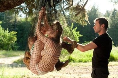 Photo number 3 from Captured in the Woods: A Featured Presentation: Two Beautiful Blondes Brutally Fucked in the Wild shot for Sex And Submission on Kink.com. Featuring James Deen, Penny Pax and Anikka Albrite in hardcore BDSM & Fetish porn.