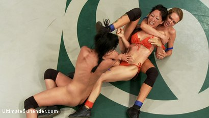 Photo number 3 from June Tag Team Match Up Part 1: Four Fierce and Sexy Wrestlers! Brutal Submission holds! Face Sitting shot for Ultimate Surrender on Kink.com. Featuring Kaylee Hilton, Tia Ling, Cheyenne Jewel, Rain DeGrey, Beretta James and Maestro in hardcore BDSM & Fetish porn.