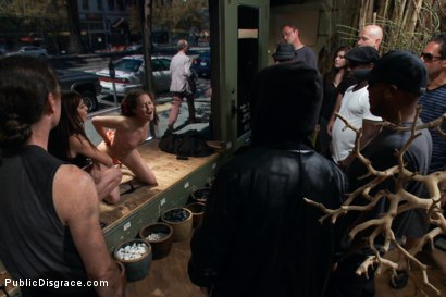 Photo number 9 from So Innocent, So Getting Ass Fucked in Public & Jizzed on by Strangers! shot for Public Disgrace on Kink.com. Featuring Bonnie Day  and Mark Davis in hardcore BDSM & Fetish porn.