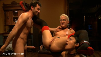 Photo number 3 from Community Dinner With James Deen  shot for The Upper Floor on Kink.com. Featuring James Deen, Beretta James and Dylan Ryan in hardcore BDSM & Fetish porn.