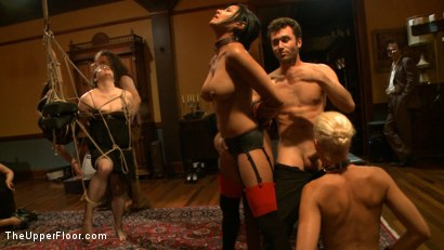 Photo number 11 from Community Dinner With James Deen  shot for The Upper Floor on Kink.com. Featuring James Deen, Beretta James and Dylan Ryan in hardcore BDSM & Fetish porn.