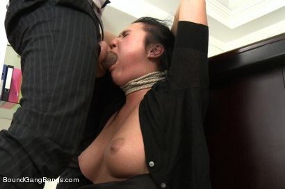 Photo number 2 from Secretary Take Down:Boss & Friends Tie her up & Fill her Pussy w/ Cum shot for Bound Gang Bangs on Kink.com. Featuring Markus Dupree, Omar Galanti, Rokki, Steve Holmes, Dorian and Vanessa in hardcore BDSM & Fetish porn.