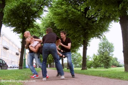 Photo number 2 from Busty blond Fantasizes of Being Snatched off the Street and Gangbanged shot for Bound Gang Bangs on Kink.com. Featuring Markus Dupree, Omar Galanti, Steve Holmes, Dorian and Dominica in hardcore BDSM & Fetish porn.