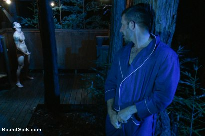Photo number 8 from The Cabin Series #3 - The Story of Lust and Betrayal  shot for Bound Gods on Kink.com. Featuring Ricky Sinz, Morgan Black, Tyler Alexander and Logan Vaughn in hardcore BDSM & Fetish porn.
